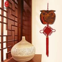 实木客厅玄关墙上装饰品挂件平安福中国结复古壁饰房间墙壁挂饰
