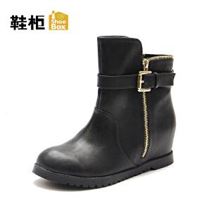 Daphne/达芙妮旗下鞋柜 秋冬女靴欧美短筒平跟切尔西靴