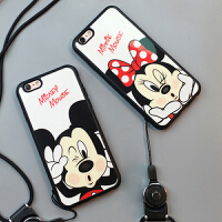 苹果8plus手机壳6S米奇iphone7保护套子5S米妮硅胶外壳带挂绳情侣