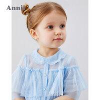 【2件35折:104.65】安奈儿童装女童衬衫2020夏季新款小童网纱甜美仙女风短袖衬衣