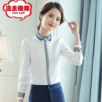 衬衣女2019春装新款女装长袖职业女士韩版时尚优雅上衣雪纺衬衫潮 白色衬衣