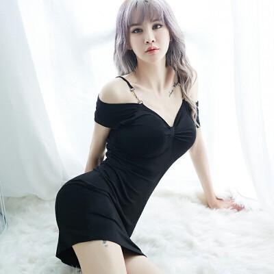 性感睡衣情趣内衣女诱惑包臀短裙制服透明激情套装睡裙 黑色包臀衣 均码