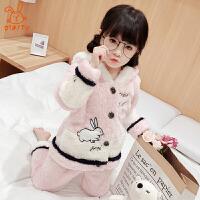 儿童睡衣冬季加厚款珊瑚绒女孩秋冬季法兰绒套装保暖家居服