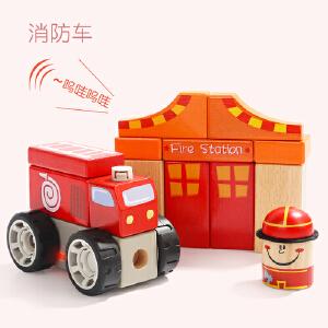 [当当自营]特宝儿1岁宝宝消防局发声玩具婴幼儿拼装积木玩具 150176