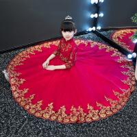 中式儿童礼服公主裙女童旗袍长袖花童钢琴表演演出晚礼服红色秋冬