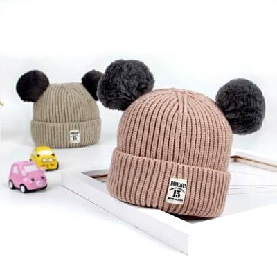 儿童秋冬季厚款毛线帽韩版套头针织帽宝宝毛球保暖帽