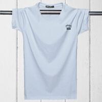 韩版男装短袖T恤宽松欧码加肥加大码肥佬胖子半袖T恤 白色 短袖1997