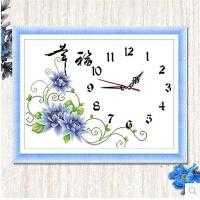 十字绣钟表幸福钟蓝印花布客厅卧室丝线新款挂钟简约画d1 60*40厘米中格棉线送钟心