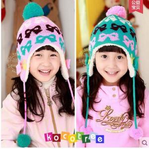 韩国kk树新款宝宝帽子秋冬潮款儿童帽子保暖加绒可爱女童套头帽