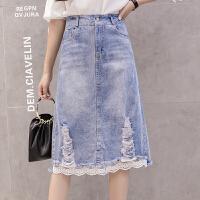 牛仔半身裙女春装新款韩版时尚ins中长款拼接网纱裙显瘦裙子