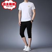 夏季新款青年男士休闲套装 时尚圆领短袖t恤上衣七分裤运动装批发