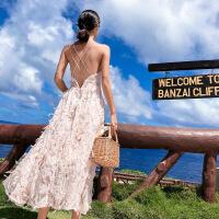 巴厘岛沙滩裙女泰国海边度假长裙超仙粉色连衣裙2019新款裙子夏季 粉红色