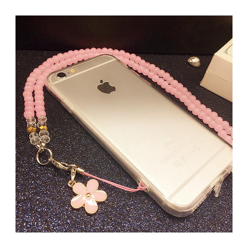 透明硅胶带挂绳iphone7plus苹果6s外壳5s手机壳4s保护套挂脖软套