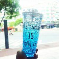 杯子创意个性潮流碎冰杯女学生夏日冰杯韩国可爱清新塑料吸管水杯