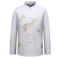 秋季中老年男士唐装中式汉服男装长袖衬衫父民族衣服中国风上衣 白色衣服 M