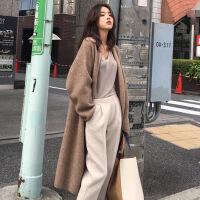 女装针织外套中长款羊毛针织开衫女韩国秋冬复古简约气质宽松外套慵懒休闲毛衣