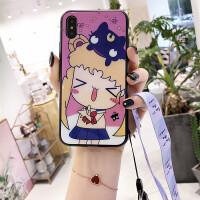 网红美少女苹果X手机壳潮牌iphone7玻璃壳6plus女挂绳8抖音款日韩