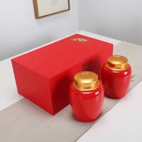 茶叶包装双罐礼盒空盒通用半斤装哥窑密封陶瓷金属合金茶叶罐