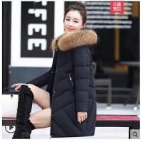 羽绒服女中长款2019韩版修身加厚中年大码妈妈装显瘦