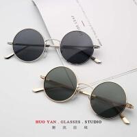 圆形眼镜复古小框男太阳镜个性彩色素颜墨镜潮女太子镜 金框黑片 送镜袋镜布