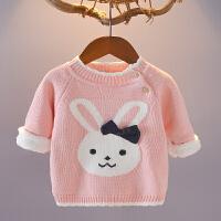 宝宝毛衣女童加绒加厚1234岁婴儿线衣外套秋冬套头小童针织打底衫