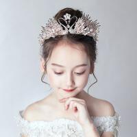 小孩发卡粉色大发箍走秀演出发饰女儿童皇冠头饰公主女童王冠