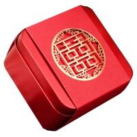 糖盒 铁 结婚庆用品婚礼马口铁喜糖盒子个性糖果包装盒子创意 BX 金色喜(10个价格) 中号:约9.0*9.0*5.5