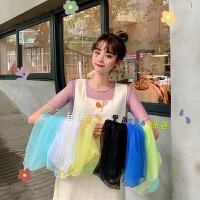 洛丽塔Lolita夏季韩版学生甜美百搭糖果色裙内搭网纱打底衫上衣女 均码