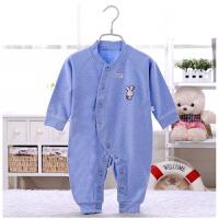 婴儿衣服春夏款棉连体衣新生儿睡衣爬爬服3-6-9-12个月宝宝衣服 蓝色小兔闭裆款【此款偏大】 66cm