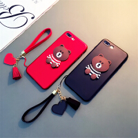 卡通布朗熊手机壳7plus软壳薄iphone6plus保护套可爱苹果6S带挂绳