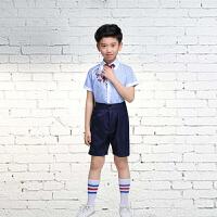 六一儿童演出服装女合唱服小学生校服套装幼儿朗诵表演服男 男童(送背带+袜子) 100cm