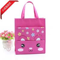 儿童女童装书袋子 小学生手提包作业学习挎包公主书包小女孩的包包 小花兔 玫红