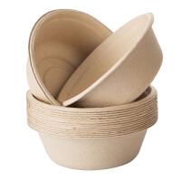 茶花(CHAHUA)茶花一次性碗 茶花本色深碗一次性餐具可降解纸碗家用加厚植物原浆户外烧烤野炊