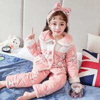 女童珊瑚绒三层夹棉加厚睡衣秋冬季儿童法兰绒宝宝保暖家居服女孩