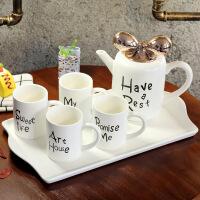 英式骨瓷咖啡杯套装欧式下午茶茶具创意陶瓷杯简约家用红茶杯 壶800ML杯200ML