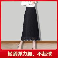 女士下半裙蕾丝半身裙春季时尚针织长裙妈妈装a字冬裙松紧腰中年妇女打底裙 黑色