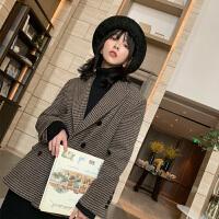 毛呢外套女冬季新款西装领双面呢羊绒呢子大衣双排扣条纹呢子外套