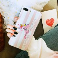 粉红豹手机壳苹果6s硅胶保护套iphone7plus手机壳女款卡通8x软壳