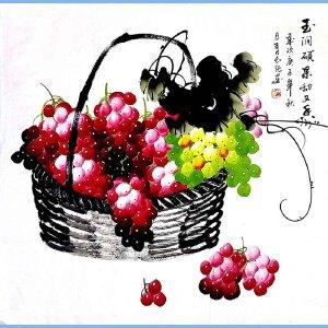 中国人民艺术家书画院高级院士,中国当代艺术家协会理事王长纯(珠润硕果甜又香)