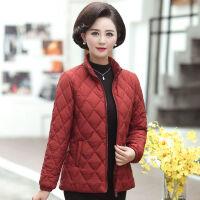 妈妈冬季轻薄女短款大码外套女士棉衣中年人秋冬装保暖小棉袄 XL 80-100斤