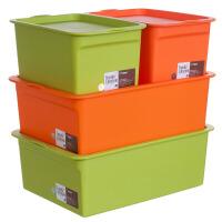 塑料收�{盒�纫率占{箱���w子零食�ξ锖�4件套2大2小 混色0716 4件套