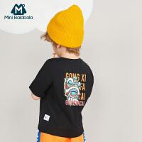 【618年中庆 2件4折价:40】迷你巴拉巴拉男童短袖T恤2020夏季儿童时尚百搭中国风短袖上衣