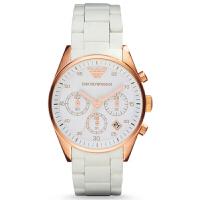 阿玛尼(ARMANI)手表 白色硅胶钢表带玫瑰金情侣表 三眼时尚女表 AR5920