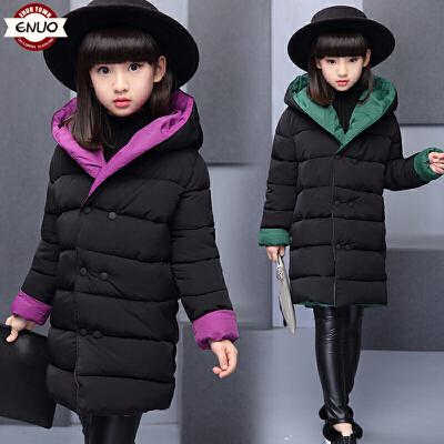 儿童棉衣冬季2018新款中长款洋气厚款女孩棉袄外套