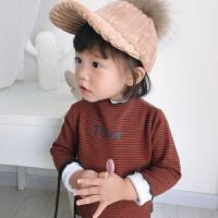 女宝宝加绒打底衫秋冬婴儿半高领T恤长袖上衣条纹小童百搭T 新焦糖 现货