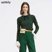 [9月12日3件7折到手价:147元]ochirly黑标系列 欧时力2019秋装格子羊毛毛衣女针织衫1GH303646