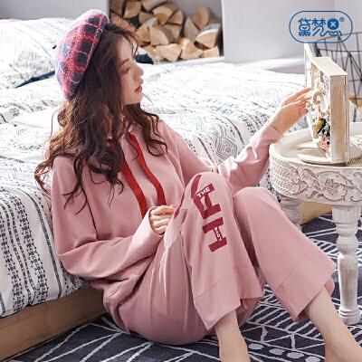 黛梦思 彩虹睡衣女春秋纯棉时尚可外穿长袖家居服套装