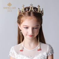 儿童皇冠头饰公主女童王冠水晶发饰女孩皇冠套装模特走秀演出饰品