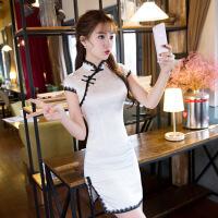 蕾丝旗袍短袖夏季新款修身显瘦少女学生小清新短款旗袍女 白色