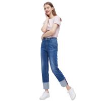 【网易严选清仓秒杀】女式休闲直筒翻边牛仔裤
